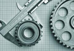 gears and caliper - stock photo