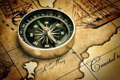 Compass on map Stock Photos
