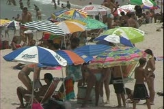 Copacabana Beach, Rio de Janerio, close up of people on the beach Stock Footage