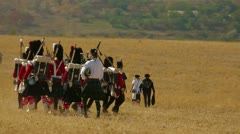 Kilties at a battle Stock Footage