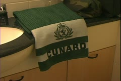 Queen Mary 2, ocean liner, standard cabin, Cunard towels - stock footage