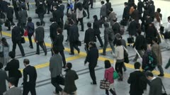 Railway station rush hour in Tokyo, Japan Stock Footage