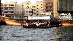 Dubai, Dubai Creek, Deira, Boats, Dhow Stock Footage