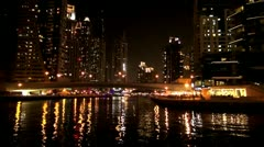 Dubai, Dubai Marina by night - stock footage