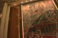 Queen Mary 2 ocean liner, 4 o'clock in the morning silence, the dining room Stock Footage