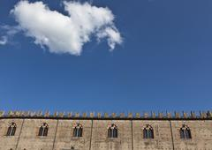 Arched windows of Palazzo del Capitano Stock Photos