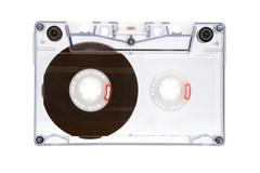 Translucent Audio Tape Isolated on a White Background Stock Photos