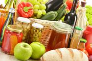 Stock Photo of composition with grocery products in shopping basket