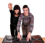 dj and beautiful girl dance music - stock photo