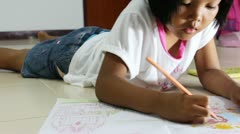 Children drawing in relax time Stock Footage
