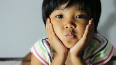 Asian children on the bed Stock Footage