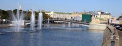 fountain on river - stock photo