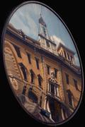The reflex of palazzo della posta in a mirror Stock Photos