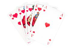 Hearts Royal Flush Isolated on a White Background Stock Photos