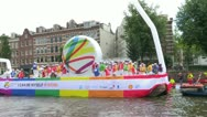 Stock Video Footage of Gay Pride Canal Parade Amsterdam 2012
