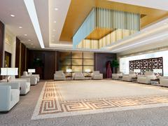 3d large reception room rendering Stock Illustration