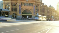 Melbourne Flinders Street Crossing point Stock Footage