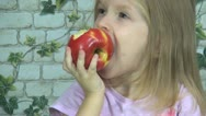 Child Eating Red Apple , Girl having Healthy Food, Fruits at Breakfast, Children Stock Footage