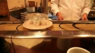 Stock Video Footage of Old sushi belt with sushi chef
