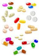 Pills on white background - stock illustration
