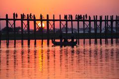 Bridge in myanmar Stock Photos