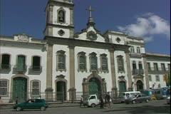 Salvador de Bahia, Brazil, Portuguese architecture, White Baroque Church Stock Footage
