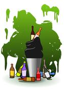 Stock Illustration of Full recycle bin. Ecology concept