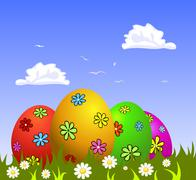 Stock Illustration of Colorful Easter eggs on grass