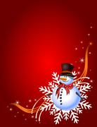 Stock Illustration of Decorative red Christmas card with snowman