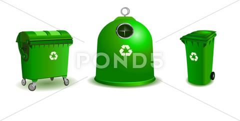Stock Illustration of Recycle bins - two bigger and a small one