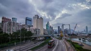 Time Lapse of Day to Night with Busy Traffic Stock Footage