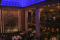 Stock Video Footage of Queen Mary 2 ocean liner, Britannia Restaurant at night, blue ceiling