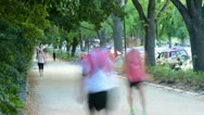 People jogging in the Park, Melbourne Stock Footage