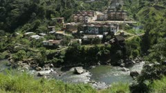 Village at river in Antioquia, Colombia Stock Footage