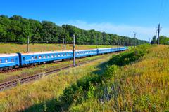 Summer railroad landscape - stock photo