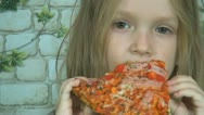 Hungry Child Eating Pizza while Watching TV, Little Girl Eat Fast Food, Children Stock Footage