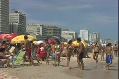 Rio de Janerio, Brazil, Ipanema Beach, beautiful people, crowds Stock Footage