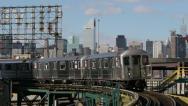 New York City Manhattan skyline midtown and subway train Stock Footage