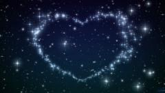 Heart made of twinkling Stars in the Beautiful night sky. HD 1080. Stock Footage