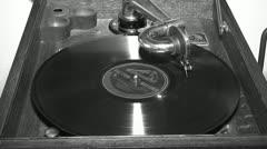 Vintage Victrola Talking Machine Phonograph Record Black White Music Entertain Stock Footage