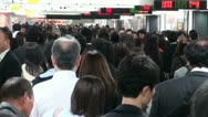 Stock Video Footage of Rush hour, Shinjuku, people, passengers, train station, busy, Tokyo, Japan