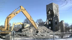 Tearing Down Historic Church in Quebec Stock Footage
