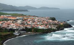 coastal settlement at the azores - stock photo