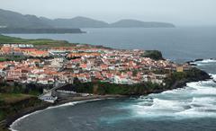 coastal settlement at the azores - stock photo