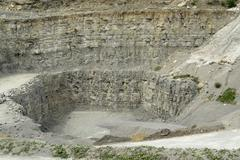 Stone pit walls Stock Photos