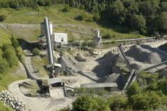 stone pit with gravel work detail - stock photo