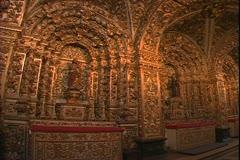 Salvador de Bahia, Brazil, Church of Sao Francisco, gilded interior, gold leaf Stock Footage