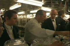 Queen Mary 2 ocean liner, galley, executive chef Jean Marie Zimmerman Stock Footage