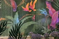 Queen Mary 2 ocean liner, waterfall over art glass in Winter Garden Stock Footage