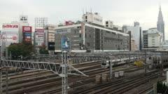 Shinjuku station, trains, transportation, Tokyo, Japan Stock Footage